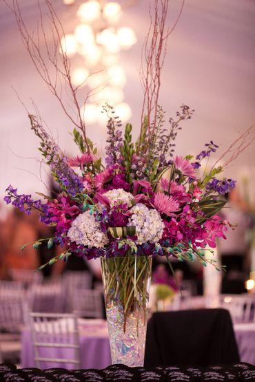 Purple wedding floral decor