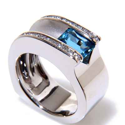 Blue wedding rings
