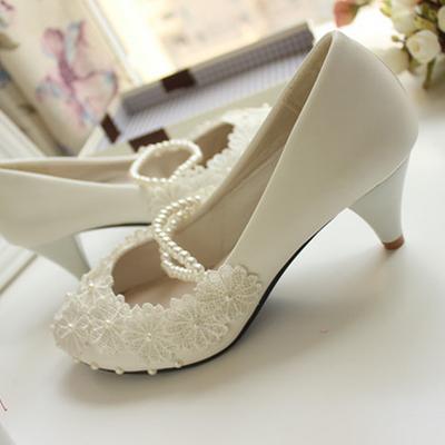 White wedding shoes