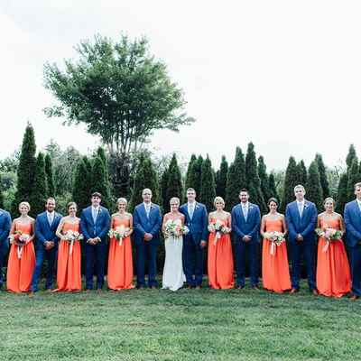 Orange bridesmaids