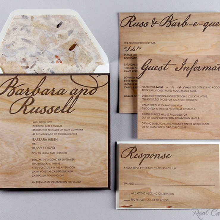Rosen wedding featured custom cherry wood invitations