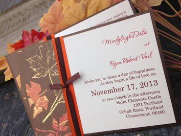Themed brown wedding invitations