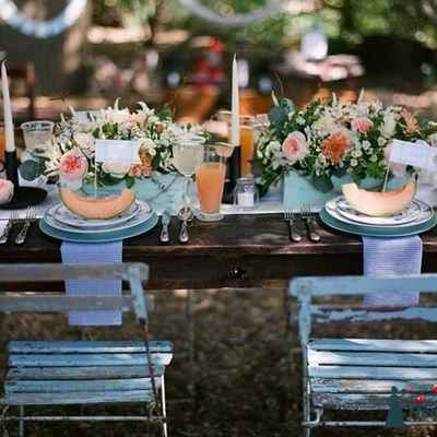Rustic summer wedding reception decor