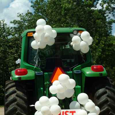 White wedding transport decor