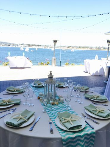 Marine wedding reception decor