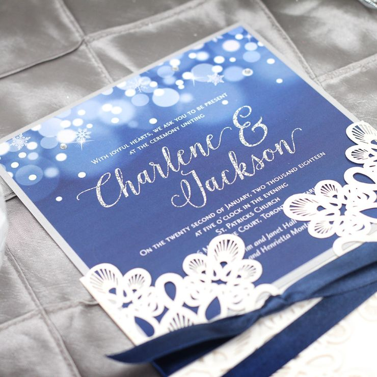 Midnight Snowfall Winter Wedding Invitation