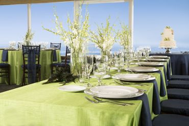 Green wedding reception decor