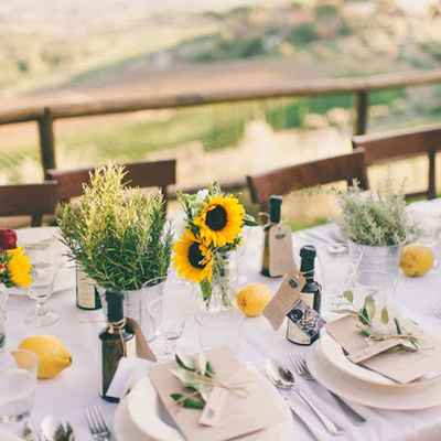 Yellow wedding reception decor