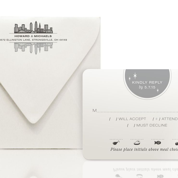 City Skyline Metal Invitations