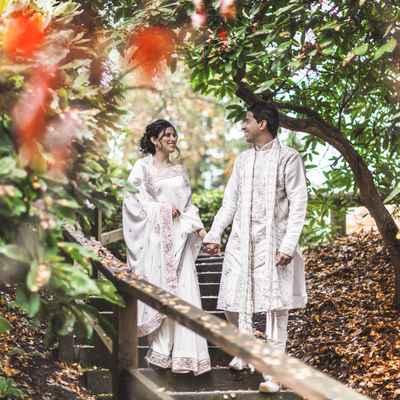 Ethnical white long wedding dresses