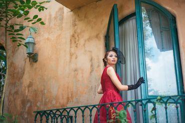 Outdoor red short wedding dresses