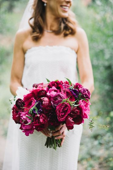 Red rose wedding bouquet