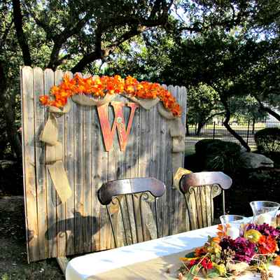 Outdoor autumn yellow wedding reception decor