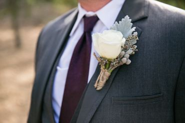 Ivory wedding buttonhole