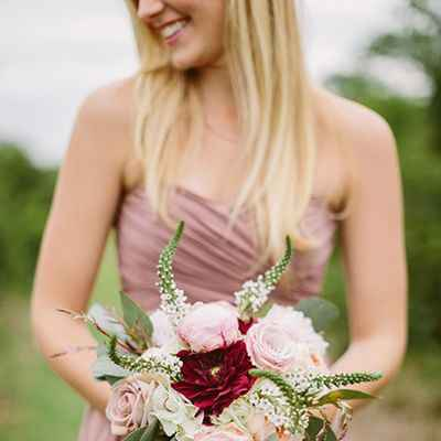 Outdoor red rose wedding bouquet