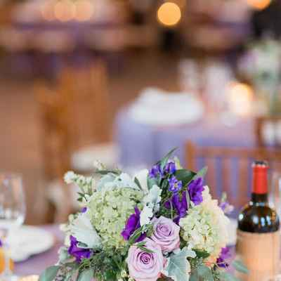 Overseas purple wedding floral decor