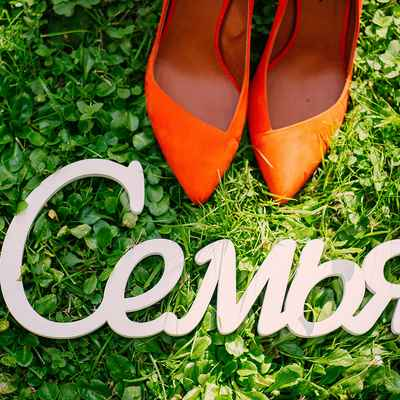 Outdoor white wedding signs