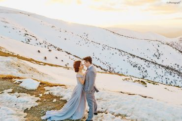 Outdoor winter grey long wedding dresses