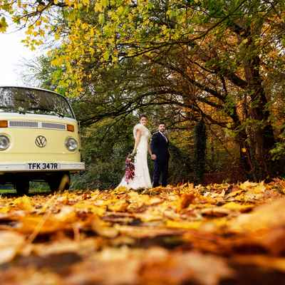 Outdoor autumn ivory wedding transport