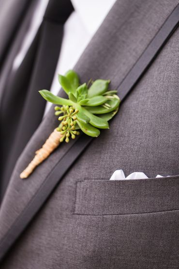 Green wedding buttonhole