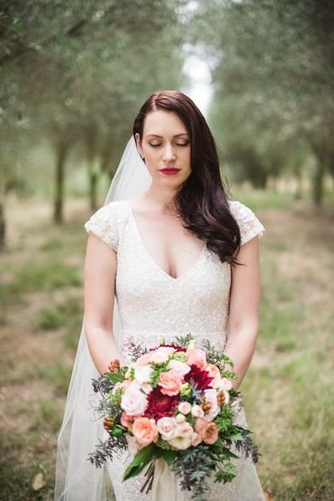 Outdoor white bridal hair and make-up