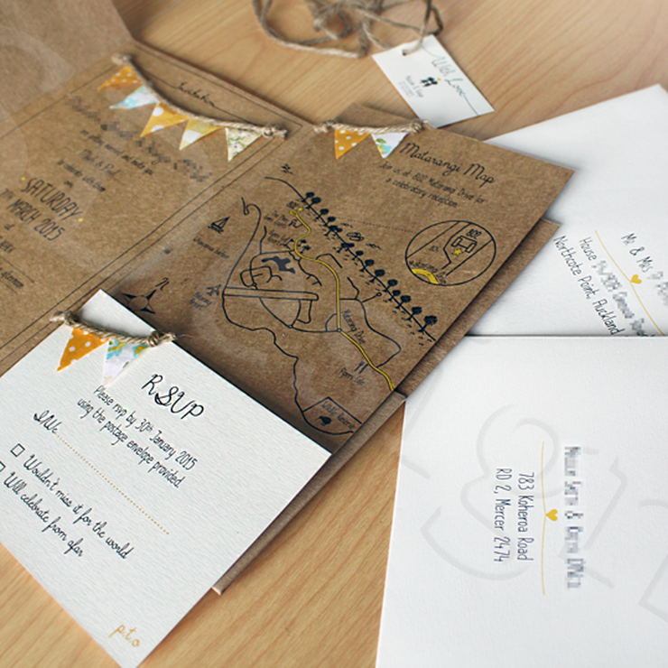 To Be Loved Bunting Invitation Set