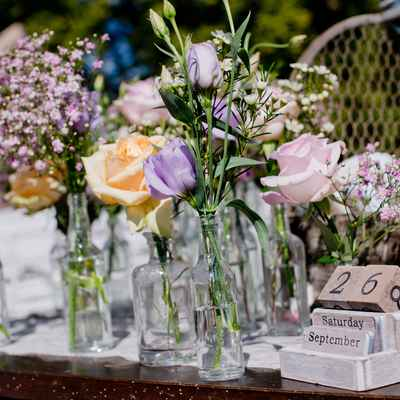 Outdoor blue wedding floral decor