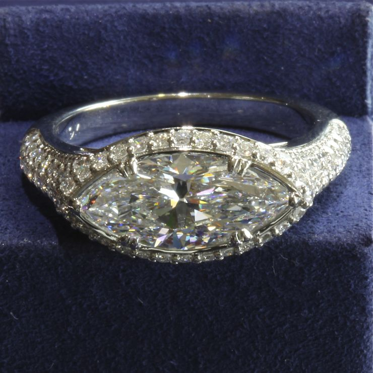 Laura's custom ring for a 2ct MQ diamond.