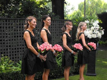 Outdoor black bridesmaids