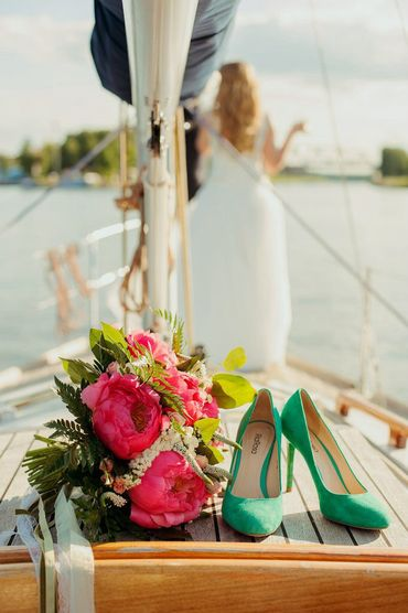 Green peony wedding bouquet