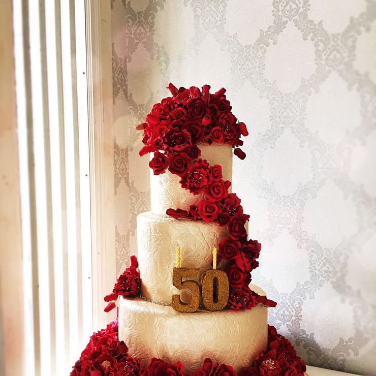 Red on gold cake