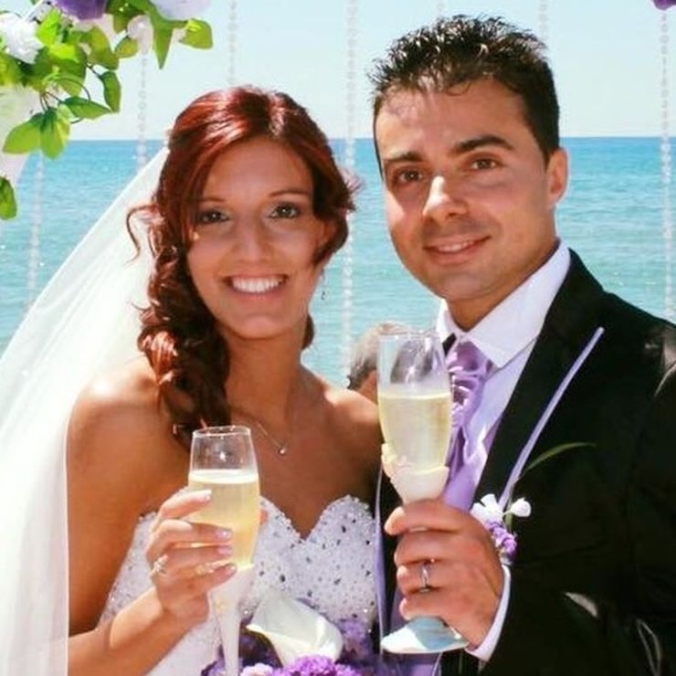 Romantic lilac ceremony for beautiful couple from Italy