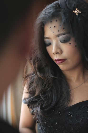 Overseas black bridal hair and make-up