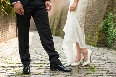 Outdoor white wedding shoes