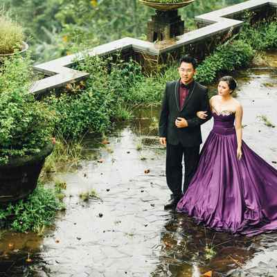 Outdoor purple long wedding dresses