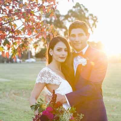 Outdoor blue rose wedding bouquet