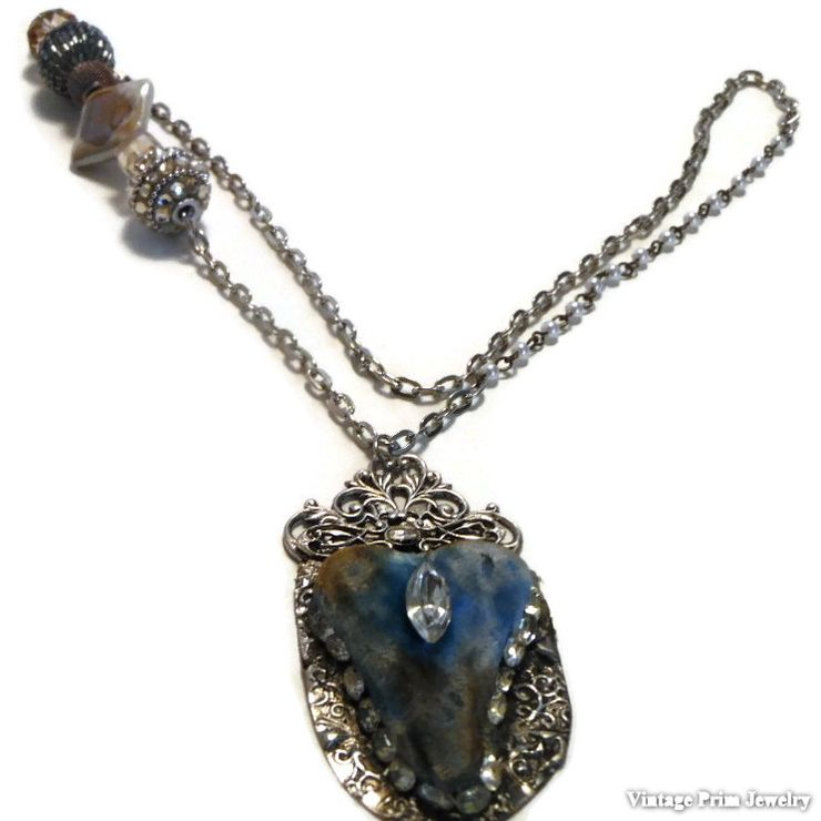 Primitive Blue Velvet Heart Pendent Necklace