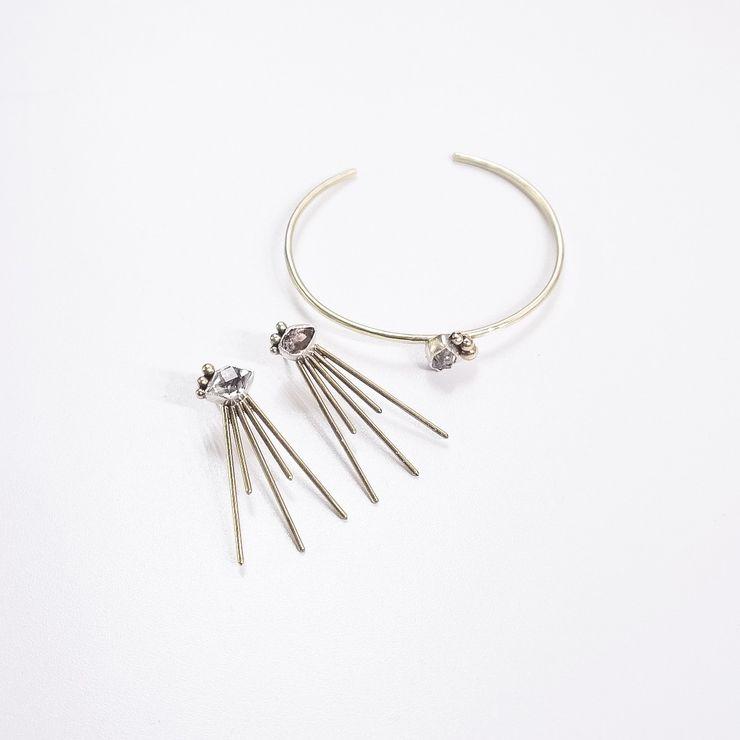 Kyndal Wedding Jewelry: Brass/Silver/Herkimer Diamonds