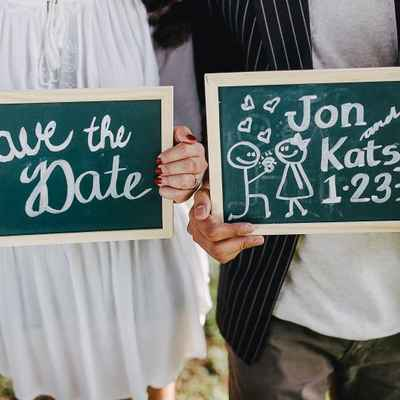 Outdoor green wedding signs