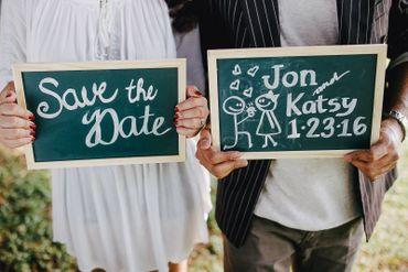 Outdoor green wedding signs