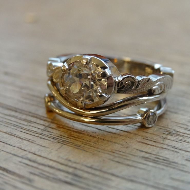 Champagne Diamond and Recycled White Gold Wedding Set