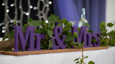 Purple wedding reception decor