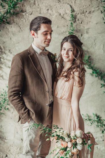 Brown overseas closed wedding dresses