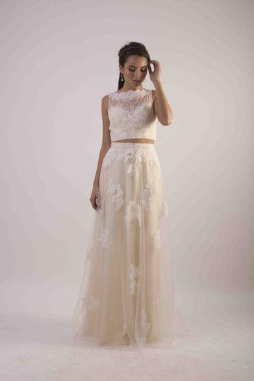 Ivory long train wedding dresses