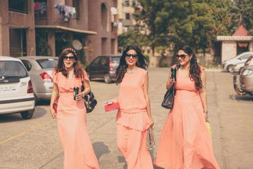 Orange outdoor bridesmaids