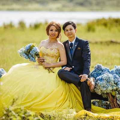Yellow outdoor long wedding dresses