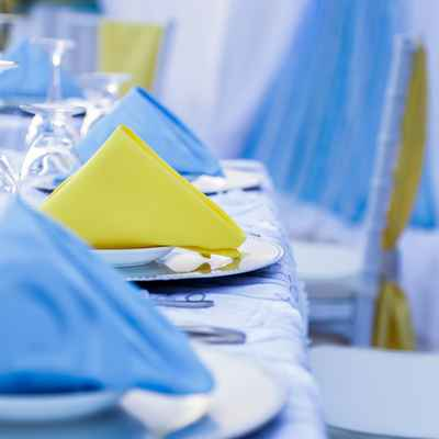 Blue overseas wedding reception decor
