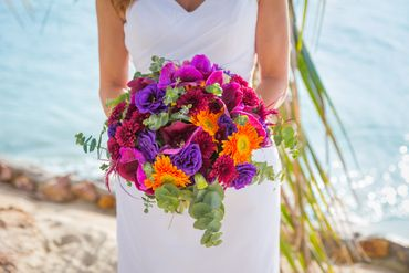 Orange orchid wedding bouquet