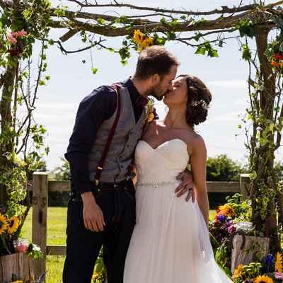 White rustic long wedding dresses