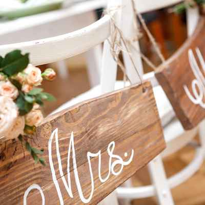 Brown wedding signs